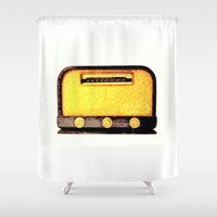 radio Shower Curtains featuring Old Radio by Mr and Mrs Quirynen