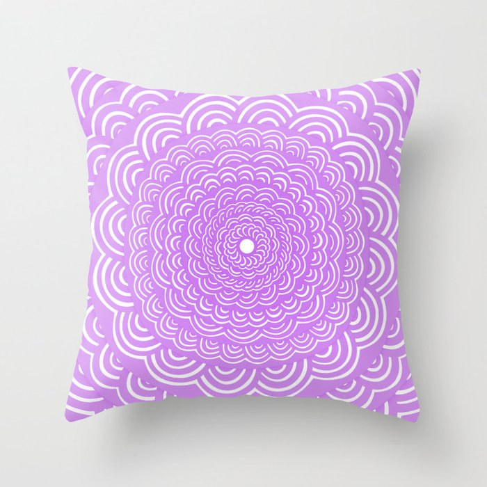 Spiral Mandala Violet Purple Curve Round Rainbow Pattern Unique Minimalistic Vintage Zentangle Throw Pillow