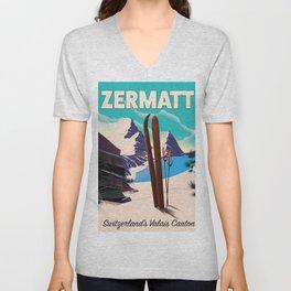 Zermatt Ski Switzerland's Valais canton Unisex V-Neck