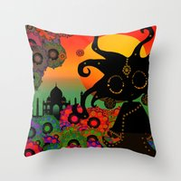 india Throw Pillows featuring India by BLOOP