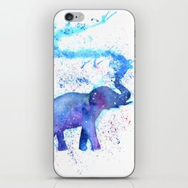 Silhouette Elephant Watercolor iPhone Skin
