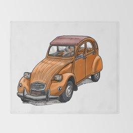 Orange 2CV Throw Blanket