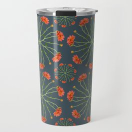 Coral Mum Floral Pattern - Realistic Flowers - Chrysanthemum Bloom Pattern Travel Mug