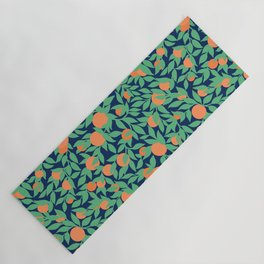 Oranges and Leaves Pattern - Navy Blue Yoga Mat