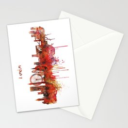 London Skyline watercolor Stationery Cards