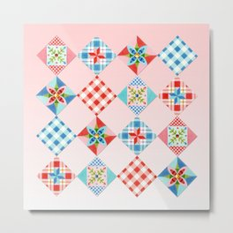 Country Days Patchwork on Pink Metal Print