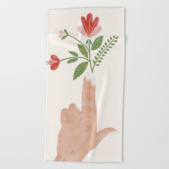 Floral Pistol Beach Towel