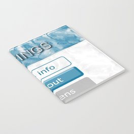 Picture of the interface with the image of 3D buttons for mobile Apps. Notebook