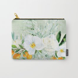 White Orchid Series: Orchid and Kumkwat Carry-All Pouch