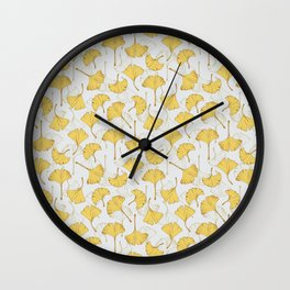 Ginkgo Pattern Wall Clock