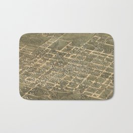 Vintage Pictorial Map of Raleigh NC (1872) Bath Mat