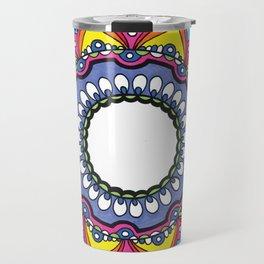 Purple & Rainbow Mandala Drawing Travel Mug