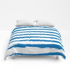 Nautical Blue STRIPES Handpainted Brushstrokes Comforters