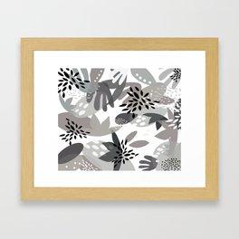 Tropical Minimalist Black & White Framed Art Print