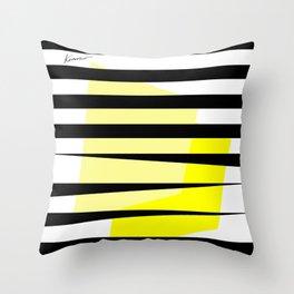 Yellow Abstract Black Stripes Throw Pillow