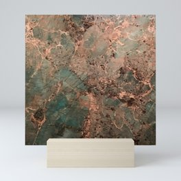 Marble Emerald Copper Blue Green Mini Art Print