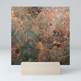 Marble Emerald Copper Blue Green Mini Art Print