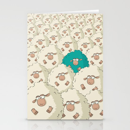 Sheep Pattern | Turquoise Stationery Cards
