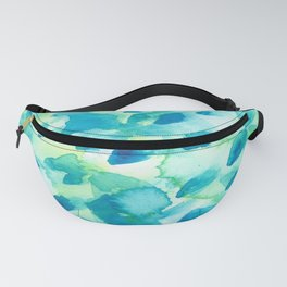 Blue, Green and Aqua Abstract Watercolor Painted Spots Fanny Pack