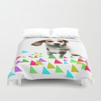 beagle Duvet Covers featuring Happy Beagle by MinnaEleonoora