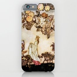 """A Dish of Apples"" Fairy Art by Arthur Rackham iPhone Case"