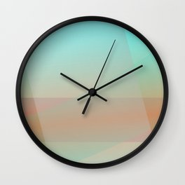 Soft Moonscape: A Pale Yellow Circle Floats Over a Rust-Red Landscape Behind Veils of Soft Blues Wall Clock