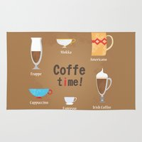 coffe Area & Throw Rugs featuring Coffe Time! by Olga  Varlamova