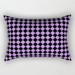Black and Lavender Violet Diamonds Rectangular Pillow