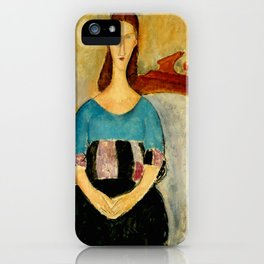 "Amedeo Modigliani ""Portrait of Jeanne Hebuterne, Seated"" 1918 iPhone Case"