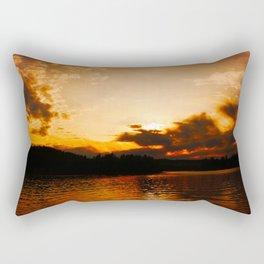 Foys Lake Montana at Sunset, Water Reflection, Neutral Colors Rectangular Pillow