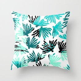 Abstract black teal watercolor coral floral Throw Pillow