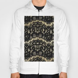 Luxury chic faux gold black floral french lace Hoody