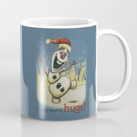 olaf Mugs featuring Olaf Christmas Frozen by WimpyGeek Art