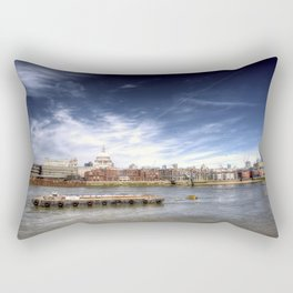 The River Thames and Barge and St Paul's Cathedral Rectangular Pillow