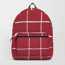 Wonky grid on red ground Backpack