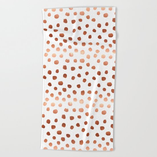 Rose Gold copper sparkle modern dots polka dots rosegold trendy pattern cell phone accessories Beach Towel