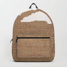 North Carolina is Home - White on Burlap Backpack
