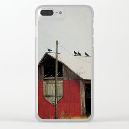 Vultures on the Red Barn Roof Clear iPhone Case