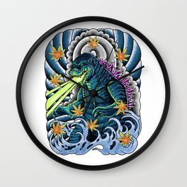 king of monster japanese tattoo Wall Clock