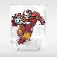 iron man Shower Curtains featuring Iron Man by Isaak_Rodriguez