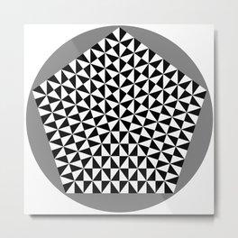 Black and White Puzzle Pentagon Metal Print
