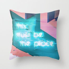 This Must Be The Place Sign Vaporwave Aesthetic Throw Pillow
