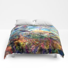 Not All Who Those Wander Are Lost Inspirational Quote With Beautiful Sea Turtle Painting Comforters