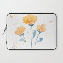 Orange/Teal watercolor flowers Laptop Sleeve