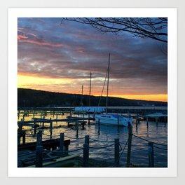 Sails, Seneca, Sunset Art Print