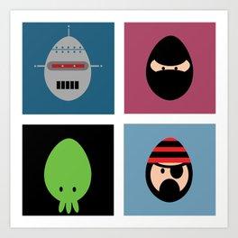 Robot Ninja Cthulhu Pirate Art Print