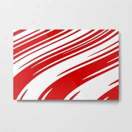 Candy Cane Christmas Red & White Stripes Abstract Pattern Design  Metal Print