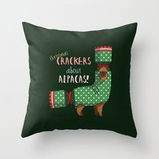 Christmas Crackers About Alpacas! Throw Pillow