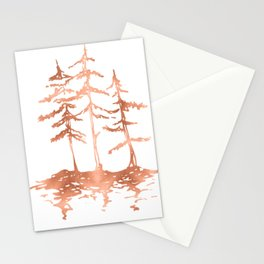 Three Sisters Trees Rose Gold on White Stationery Cards