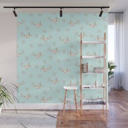 Christmas birds - Bird pattern on turquoise background Wall Mural
